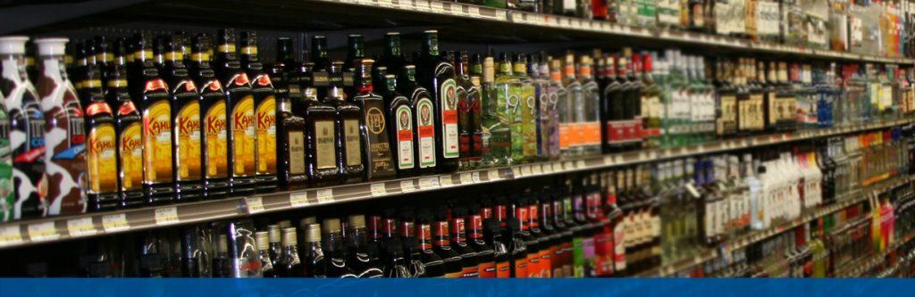 Wine & Spirits shelf at Midtown Foods